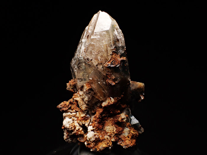 マラウイ産スモーキークォーツ、リーベカイト&シデライト仮晶 (Smoky Quartz, Riebeckite & Goethite after Siderite / Malawi)-photo1